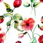 ポピーとチューリップの花でシームレスな壁紙 — ストック写真