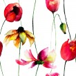 Seamless wallpaper with Gerber and Tulips flowers — Stock Photo #76719835