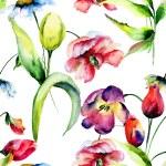 Seamless pattern with Original flowers — Stock Photo #76719837