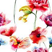 Modello senza saldatura con fiori decorativi estate — Foto Stock