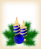 Christmas candle and ball decorate card — Vector de stock