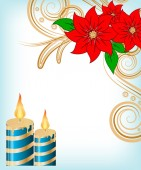 Christmas candle decorate card — Stock Vector