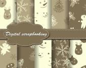 Set of Christmas paper for scrapbook — Stock Vector