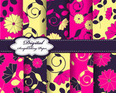 Papers for scrapbook with flower pattern — Vetor de Stock