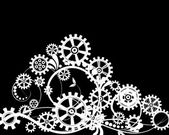 Mechanical background with floral elements — Vector de stock