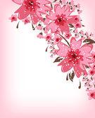 Romantische achtergrond met bloemen — Stockvector