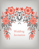 Wedding invitation card with flowers — Stock Vector