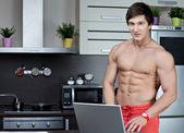 Men on the kitchen — Stock Photo