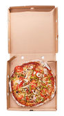 Delicious pizza in a package — Stock Photo