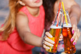Cute girls with beer — Stock Photo