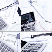 Calculator, graphs and diagrams on the table — Stock Photo