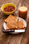 Peanut butter cream on toast — Stock Photo