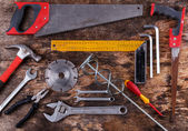Tools set on wooden table — Stock Photo