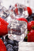 Heap of delicious berries with ice cubes — Stock Photo