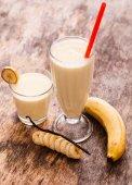 Yummy banana milkshake — Stock Photo