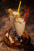 Yummy banana milkshake — Stock Photo