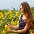 Girl in the field full of sunflowers — Stock Photo #54883815