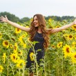 Girl in the field full of sunflowers — Stock Photo #54883843