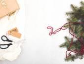Christmas Fir with gift — Stock Photo
