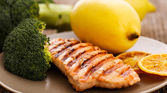 Slice of grilled salmon — Stock Photo