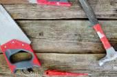 Tools auf holztisch — Stockfoto