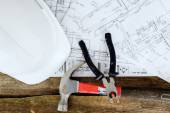 Tools, helmet and drawings — Stock Photo