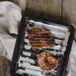 Grilled steaks on a tray — Stock Photo #56547971
