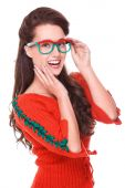 Young woman holding rowanberry glasses — Stock Photo