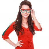 Young woman holding her rowanberry glasses — Stock Photo