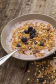 Yoghurt with muesli and blueberies — Stock Photo