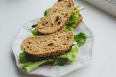 Sandwich on the windowsill — Stock Photo
