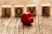 Word love on toy bricks — Stock Photo