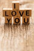 Phrase i love you on toy bricks — Stock Photo