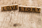 Words love story on toy bricks — Foto Stock