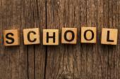 Word school on toy bricks — Stok fotoğraf
