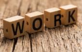 Word work on toy bricks — Stock Photo