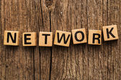 Word network bricks — Stock Photo