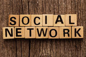 Phrase social network on toy bricks — Stock Photo