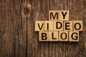 Words my video blog on toy bricks — Stock Photo