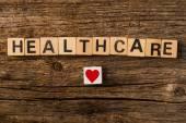 Word healthcare on toy bricks — Stock Photo