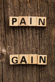 Words pain and gain on toy bricks — Fotografia Stock