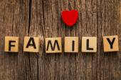 Word family on toy bricks — Stock Photo