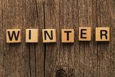 Word-Winter auf Spielzeug-Steine — Stockfoto