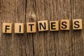 Word fitness on toy bricks — Stock Photo