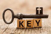Word key on toy bricks — Foto de Stock