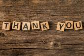 Phrase thank you on toy bricks — Stock Photo