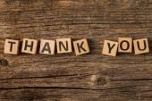 Phrase thank you on toy bricks — Stock Photo