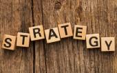 Word strategy on toy bricks — Foto Stock