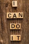 Phrase I can do it on toy bricks — Stock Photo