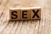 Word sex on toy bricks — Stock Photo